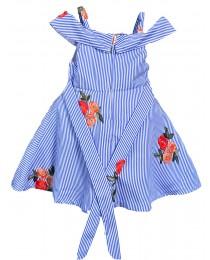 Cold Shoulder Embroidery Blue Dress