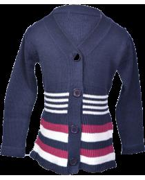 Girl Blue & Wine Stripped Long Sleeved Sweater
