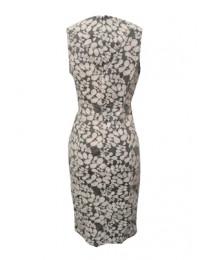 Grey & Cream Flowery Sleeveless Dress