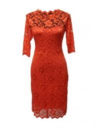 Orange Lacey Bodycon Dress