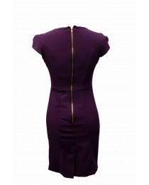 Dark Purple Short Sleeved Work Dress